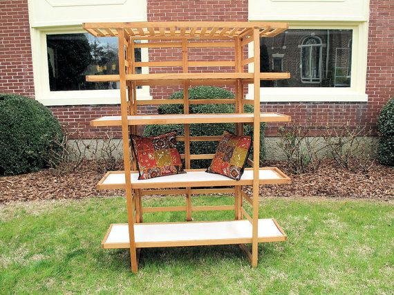 Portable Free Standing Wooden Shelving Unit with 5 by oldsilkroute