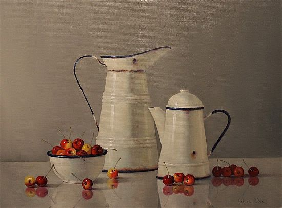 View Vintage French Enamelware with Cherries
