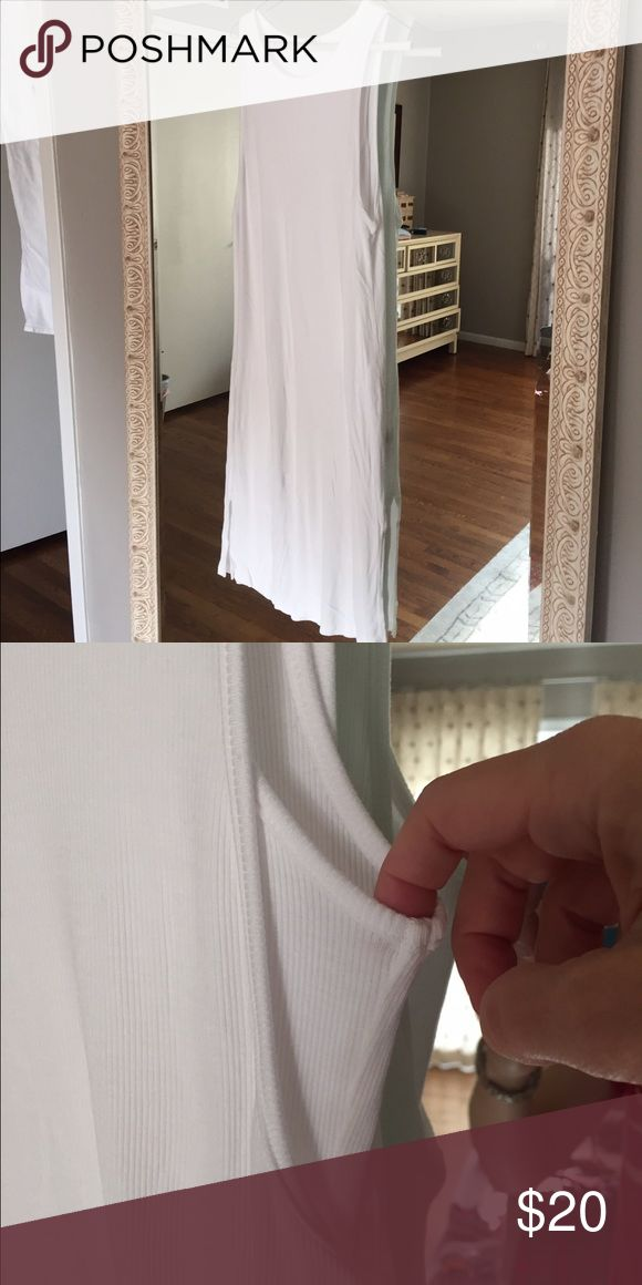 White splendid fitted midi-length dress White midi length dress from Splendid. Full lined. Cute layering effect on top. Reposh- didn't look quite right on me but is a great, simple dress for the spring and summer. Splendid Dresses Midi