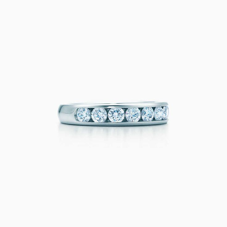 Tiffany Embrace® band ring in platinum with diamonds, 3.5 mm wide.