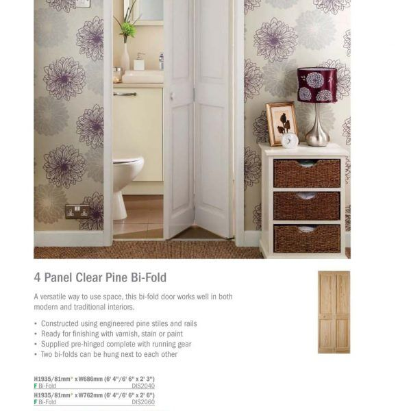 4 Panel Clear Pine Bi-Fold_034