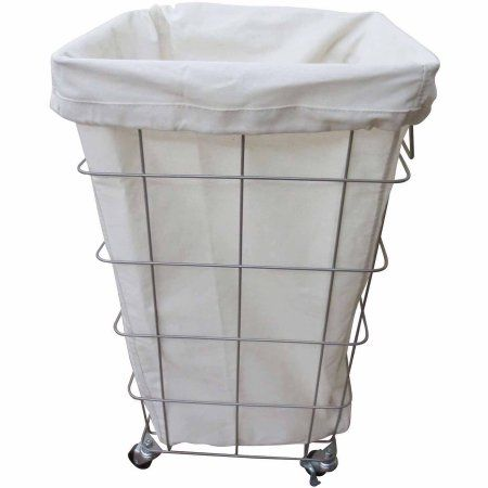 Better Homes and Gardens Square Caged Hamper, Nickel/White - Walmart.com