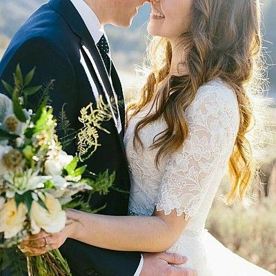 Modest wedding dress with custom 3/4 lace sleeves. aline maggie sottero wedding gown. LDS temple wedding
