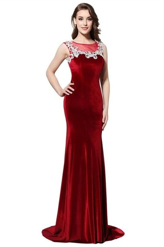 eeaf78a6bec6 Mermaid Boat Neck Sheer Back Crystal Beaded White Appliques Red Velvet Prom  Evening Dress