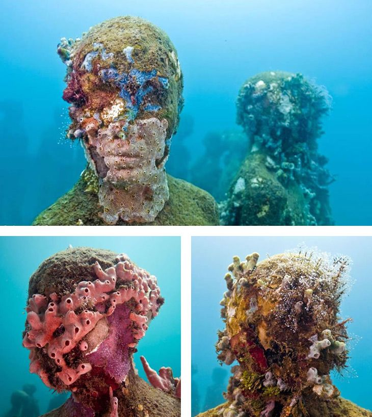 artist Jason de Caires Taylor submerges life-size sculptures made of cement into the waters surrounding South America. As time passes, the installation morphs into an artificial reef, facial expressions slowly overcome by living masks  http://www.underwatersculpture.com/