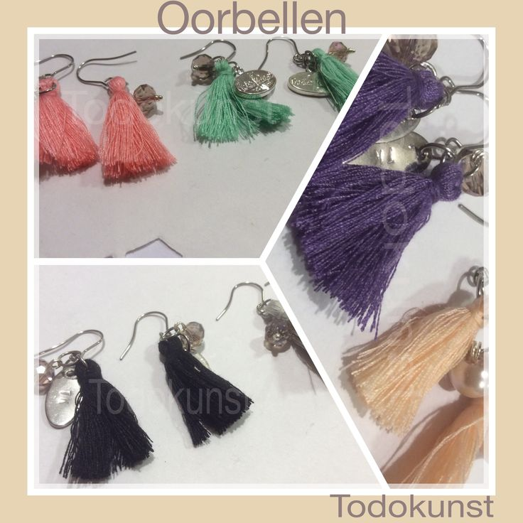 Kwastje oorbellen met kristallen. earrings