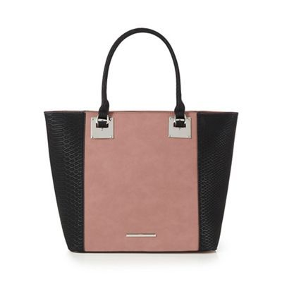 Red Herring Dark pink snakeskin-effect tote bag | Debenhams