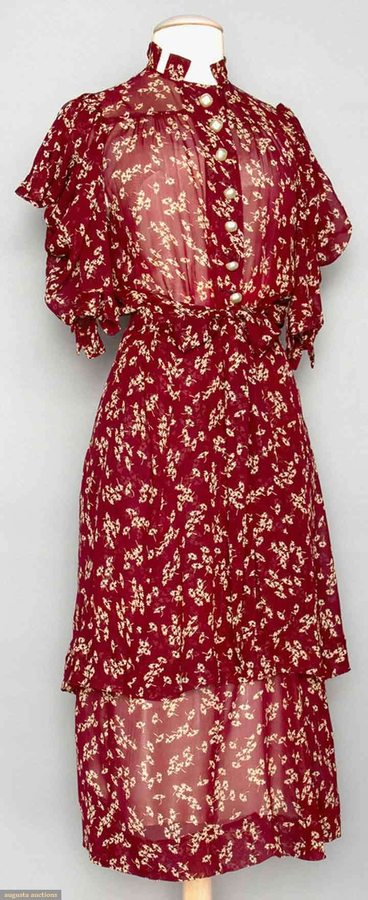 TWO SILK DAY DRESSES, 1930s Go Back Lot: 120 MAY 13th & 14th, 2014 Sturbridge, Massachusetts 1 maroon w/ white floral print; 1 brown w/ lace collar; t/w 1 1920s black lace blouse.