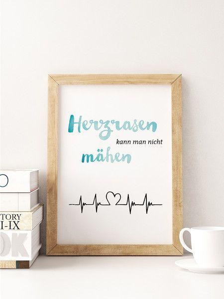 """A5 Print Spruch """"Herzrasen"""" von Beiderhase Grafik und Design auf DaWanda.com #print #spruch #quote #karte #design #herzrasen #love #verliebt #heart"""