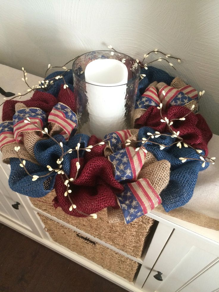 Americana Wreath - Stars and Stripes Wreath - Forth of July Wreath -Americana Decor - Patriotic Centerpeice - Patriotic Wreath by WreathsbyRochelle on Etsy https://www.etsy.com/listing/235030360/americana-wreath-stars-and-stripes