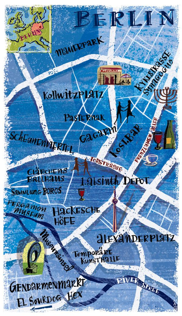 City map illustration of Berlin, Germany for Lonely Planet Magazine, by Nigel Owen