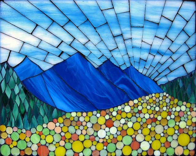 """Untitled, stained glass mosaic on board, 8.5"""" x 11"""", 2011 by Kasia Polkowska  Visit Kasia Mosaics on Facebook to see lots more projects: https://www.facebook.com/KasiaMosaics"""