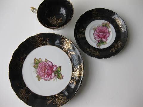 Stunning Black and Pink Rose Vintage Royal Halsey by thechinagirl