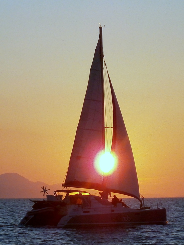 The magical Greek sunset descending upon the Dodecanese