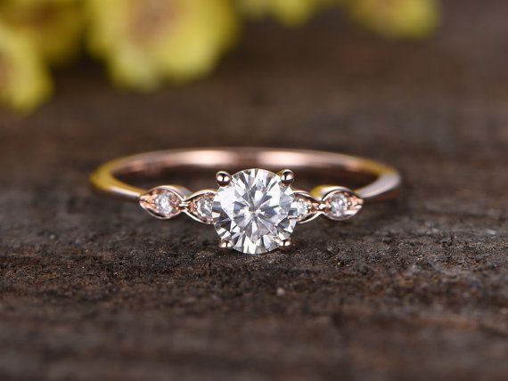 Charles & Colvard Moissanite engagement ring,bridal ring,14k rose gold diamond wedding ring,5mm round Forever Classic Moissanite,bridal ring