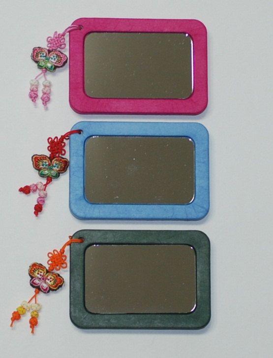 Hand mirror  DIY kit Pocket mirror Compect by koreanpaperart7