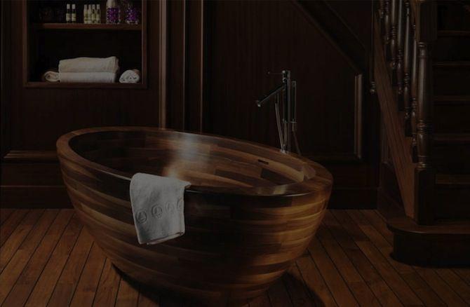 Stunning Wooden Bathtub Ideas for Your Luxury Bathroom ➤To see more Luxury Bathroom ideas visit us at www.luxurybathrooms.eu #luxurybathrooms #homedecorideas #bathroomideas @BathroomsLuxury