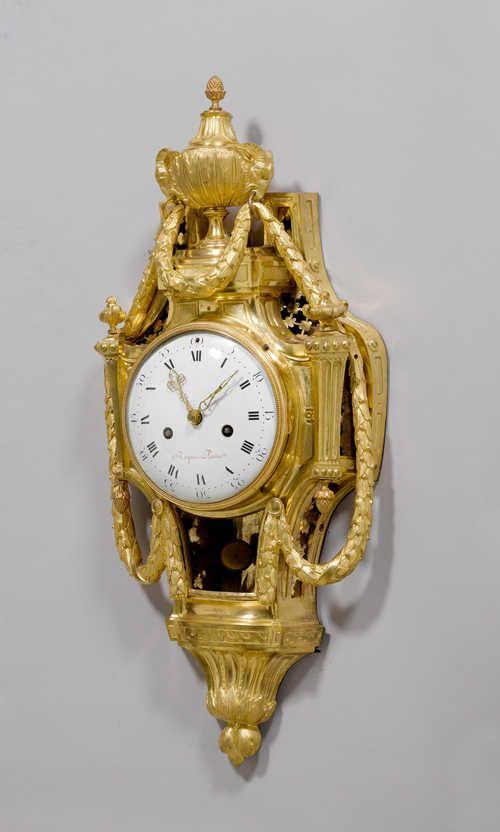"""c1775 CARTEL CLOCK """"AUX GUIRLANDES"""", Louis XVI, the dial and movement signed ROQUE A PARIS (Joseph Léonard Roque, maître 1770) and numbered 802, Paris ca. 1775"""
