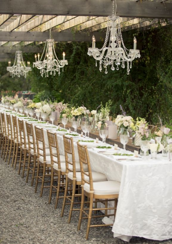 Victorian gaden inspired wedding decorations for the reception.  Love the romantic chandeliers!