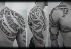 Custom New Zealand Maori Ta Moko Kirituhi Pacific Tribal Half Sleeve with Chest …   – Maori tattoos