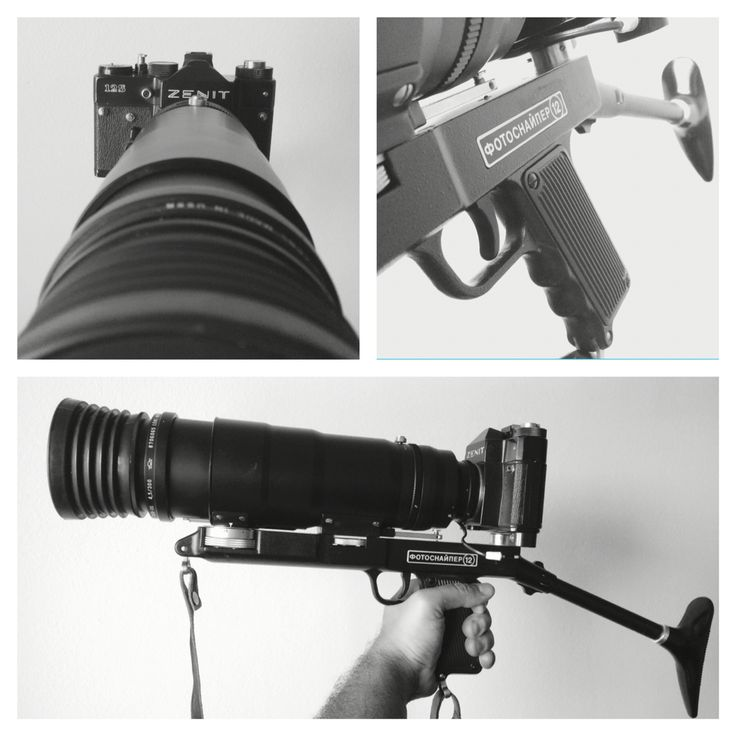 """Don't make me angry, or I'll shoot you!!! ;) of course this is not a gun but it seems to be. The Photosniper kit is a Russian product of the Soviet era, it was designed to give a gun's stability for nature and wildlife photography. The kit is composed by a Zenit 12s reflex camera, a Tair 3s 300mm f4.5 lens and a gun-like support..this is surely the weirdest """"camera"""" in my collection!"""