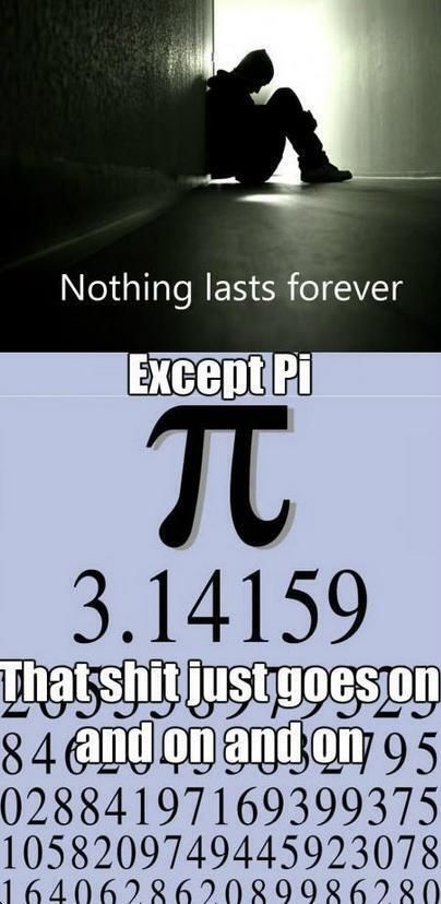 Nothing lasts forever except Pi....