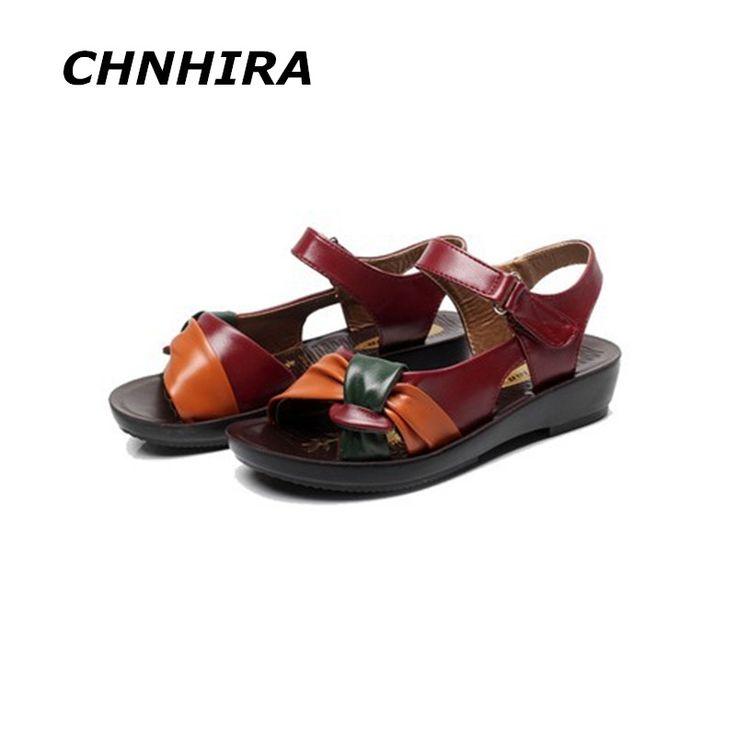 2016 летняя обувь плоские сандалии женщин в возрасте кожа квартира с смешанные цвета сандалии моды удобные старые ботинки # HR612 #CLICK! #clothing, #shoes, #jewelry, #women, #men, #hats