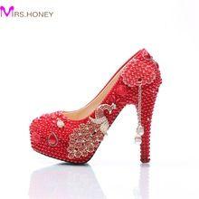 Pérola Vestido de Noiva Sapatos de Salto Stiletto casamento Sapatos Vermelhos com Phoenix Cinderella Sapatos Da Dama de honra Prom Party Bombas Plus Size alishoppbrasil