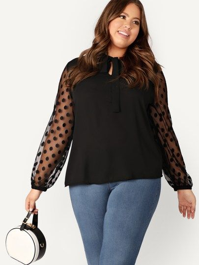 2232eda39dae88 Plus Cut Out Tie Neck Dot Mesh Sleeve Blouse [swblouse07181217005] - $28.00  : moonbaye.com