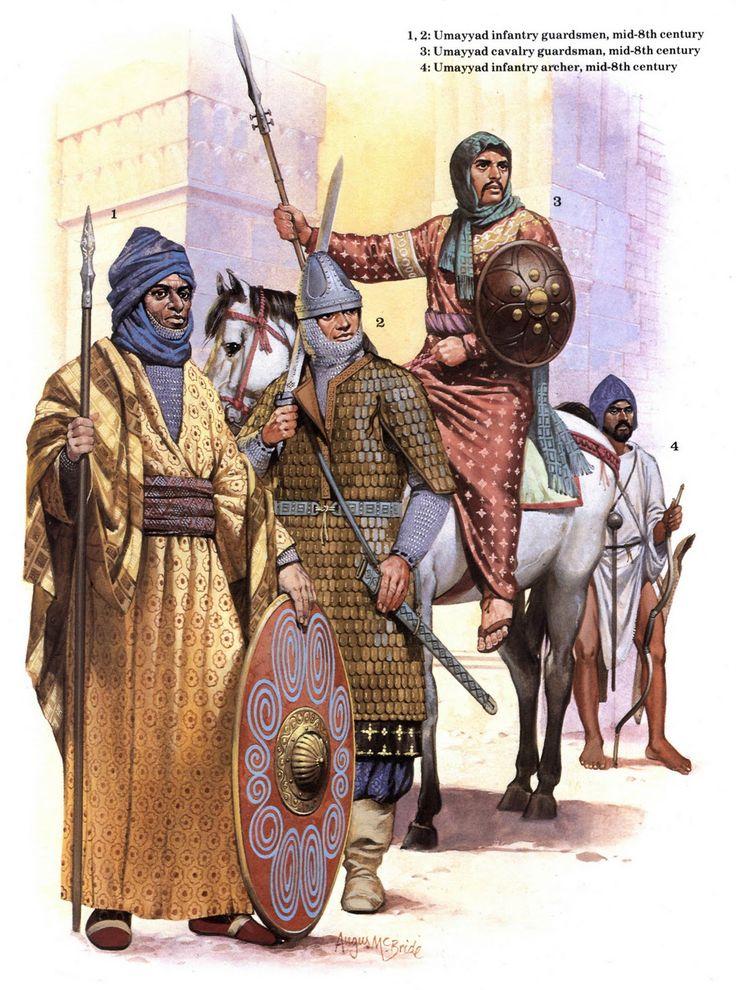 l'infanterie omeyyade : 1- le gardien , 2- le soldat , 3- le cavalier et 4- l'archer