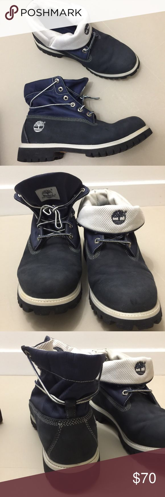 Men's Timberland Blue Suede Roll Tops Navy blue suede with white Timberland roll top boots in excellent condition. Can be worn up or rolled down. Size 10.5 Timberland Shoes Boots