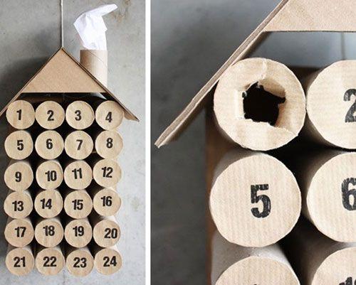 Modern julkalender: Var kreativ med toalettrullar. Foto: morningcreativity.com
