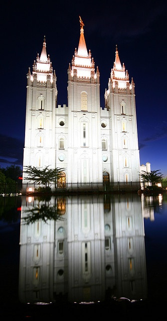 Mormon temple in Salt Lake City mirrored in a pond by Raphael Bick,