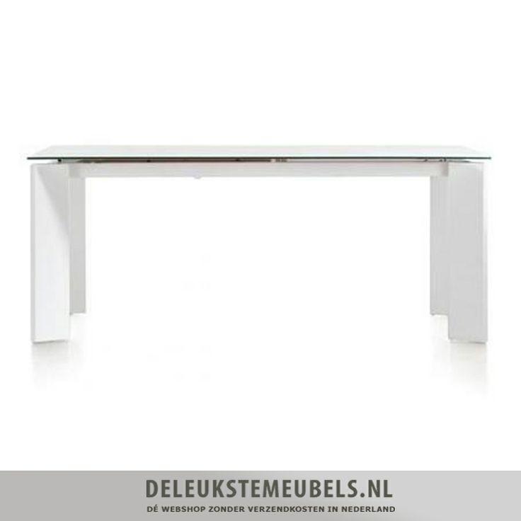 Tafel met uitschuif mogelijkheid wooncollectie Kozak van het merk Henders & Hazel in wit MDF met wit mat glazen blad..helemaal hip! http://www.deleukstemeubels.nl/nl/kozak-uitschuiftafel-160cm/g6/p1571/