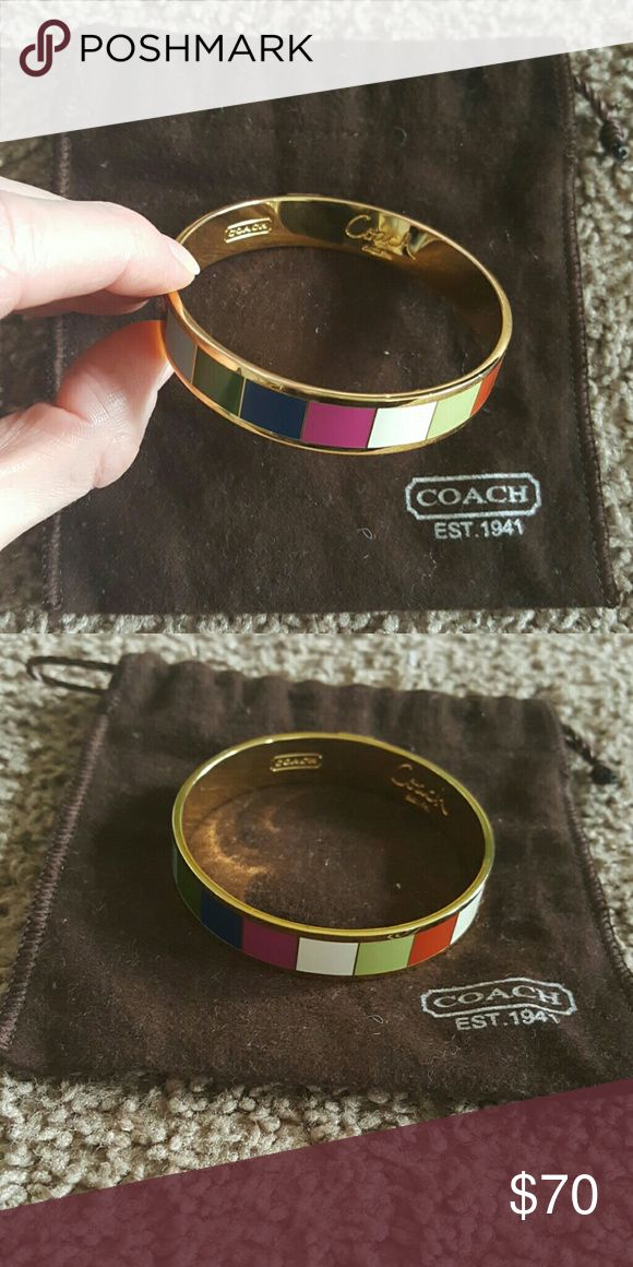 Coach legacy stripe bangle Coach legacy stripe bangle with gold tone metal. In excellent condition. Coach Jewelry Bracelets