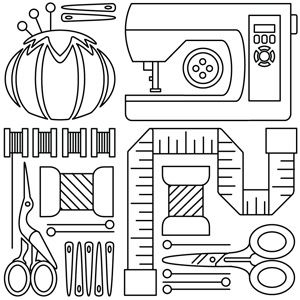 Iconic sewing tools are neatly arranged in this collage-style design. Downloads as a PDF. Use pattern transfer paper to trace design for hand-stitching.
