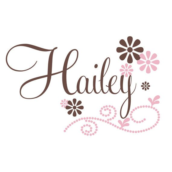 Girls Name Wall Decal With Flowers And Polka Dots by FleurishWalls