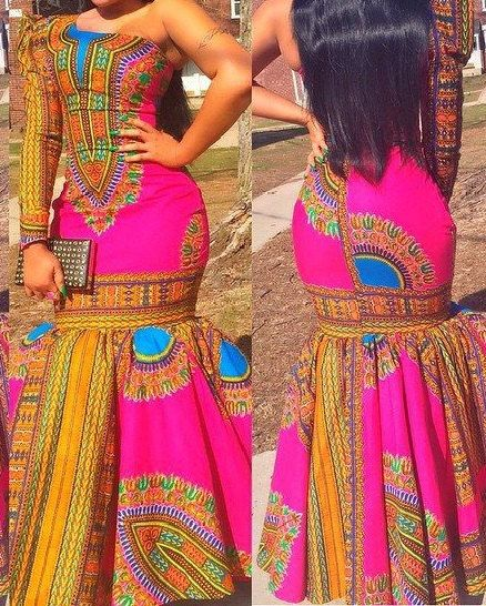 this lovely gown is made from dashiki fabric and is made to fit perfectly. Available in different colours. Please allow 1 to 2 weeks to