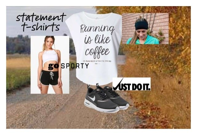 """Track Star (statement t-shirts)"" by outfit-creator ❤ liked on Polyvore featuring Boohoo, Dorothy Perkins and NIKE"