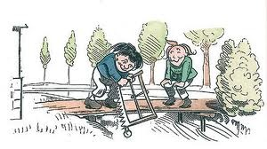 Busch's Max und Moritz cutting the bridge -- captures the spirit of Jackson's Rumpelstiltskin