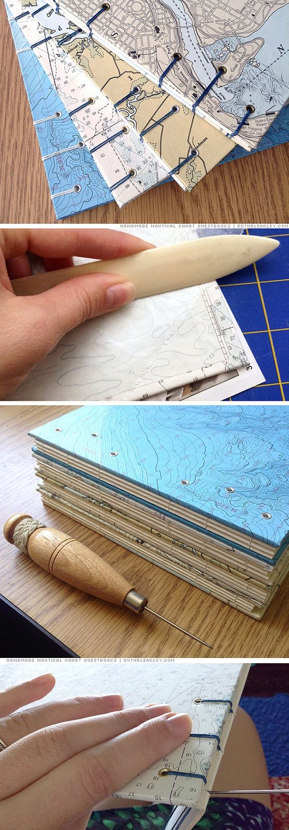 nautical chart guest books handmade by bookbinder Ruth Bleakley