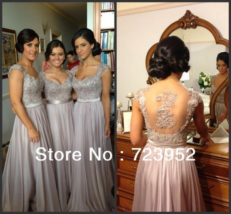 Real Sample BD-112 High quality A line Applique Cap Sleeve Chiffon Floor Length Long Bridesmaid Dresses Brides Maid Dresses $136.00