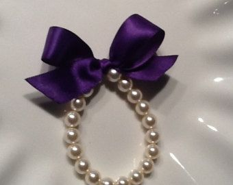 This adorable swarovski crystal pearl bracelet with rustic cotton lace bow is perfect for a flower girl. Custom made with your choice of size (girls