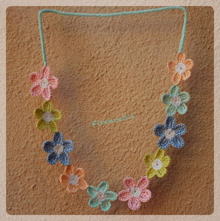 crochet necklace flower uncinetto collana fiori colori pastello