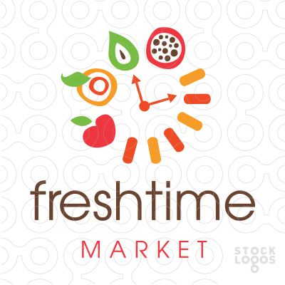 Exclusive Customizable Logo For Sale: Fresh Time Food Market | StockLogos.com