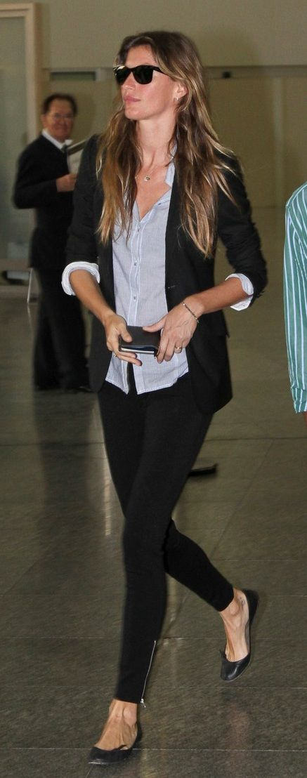 flats, leggings, blouse, blazer.