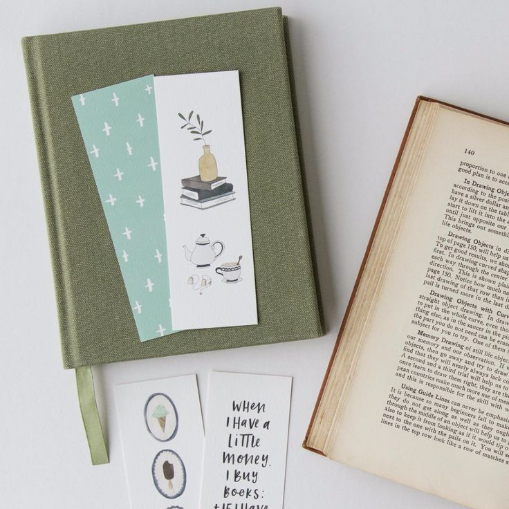 Bookmark sets of 5. Cross pattern teal. Tea and Books. Ice Cream Dream. When I Have Little Money bookmark.  Australian made stationery by In the Daylight.