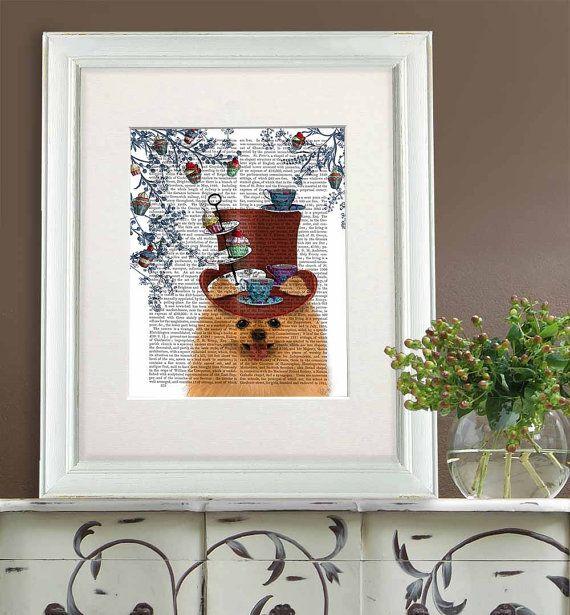 Funny kitchen print Pomeranian dog Print - Milliners Dog - Pomeranian art print tea party print cup cake Pomeranian wall art