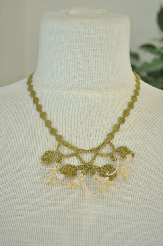 OYA Silk Needle Lace Necklace Hand made Turkish lace by OYASHOP, $30.00