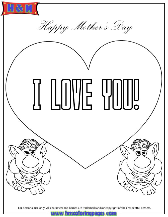 Trolls From Frozen Movie Say I Love You Coloring Page